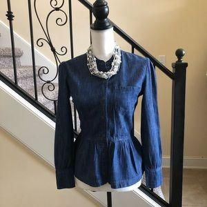 Lucky Brand Denim Peplum Top Size 2